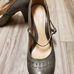 MIA Shoes - Grey Leather Mary Jane Pumps